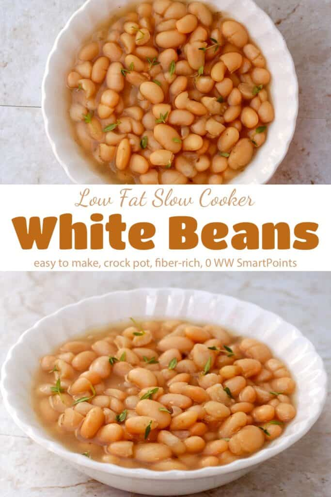 Slow cooker white beans with fresh thyme in white bowl.