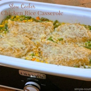 Slow Cooker Cheesy Chicken and Rice Casserole