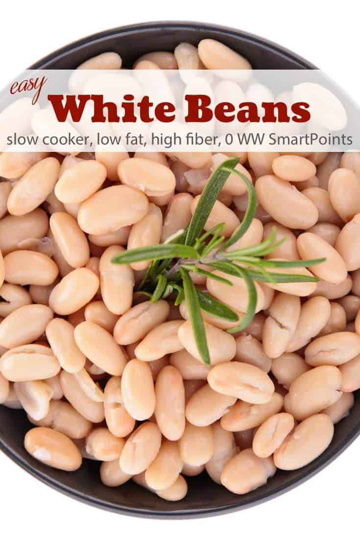 WW Simply Filling Slow Cooker White Beans are super easy to make and taste much better than canned beans - about 90 calories and 0 Weight Watchers Freestyle SmartPoints! #simplenourishedliving #weightwatchers #ww #wwfamily #wwsupport #wwcommunity #easyhealthyrecipes #smartpoints #wwfreestyle #wwsmartpoints #smartpointsfam #slowcooker #crockpot #simplyfilling #becauseitworks #beyondthescale