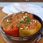Slow Cooker Couscous Stuffed Peppers in a pottery bowl
