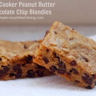 Slow Cooker Peanut Butter Chocolate Chip Blondies