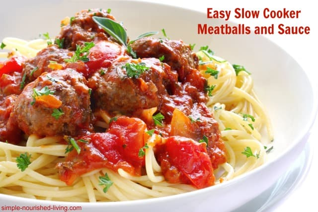 Easy Slow Cooker Meatballs and Sauce, Healthy & Delicious