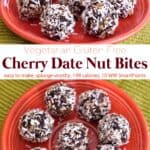 No-bake, gluten-free cherry date nut bites on an orange plate.