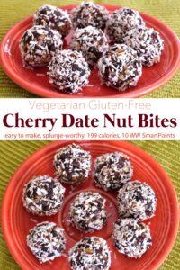No-bake, gluten-free cherry date nut bites on an orange plate.
