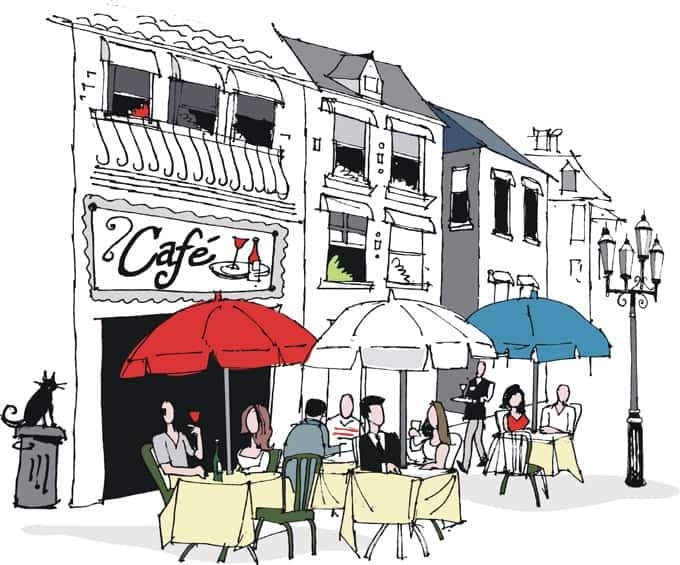 French café with red, white and blue umbrellas illustrated drawing