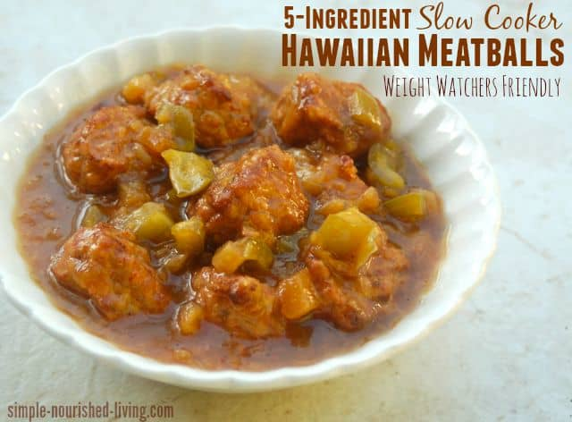 5 Ingredient Slow Cooker Hawaiian Meatballs white scalloped bowl close up