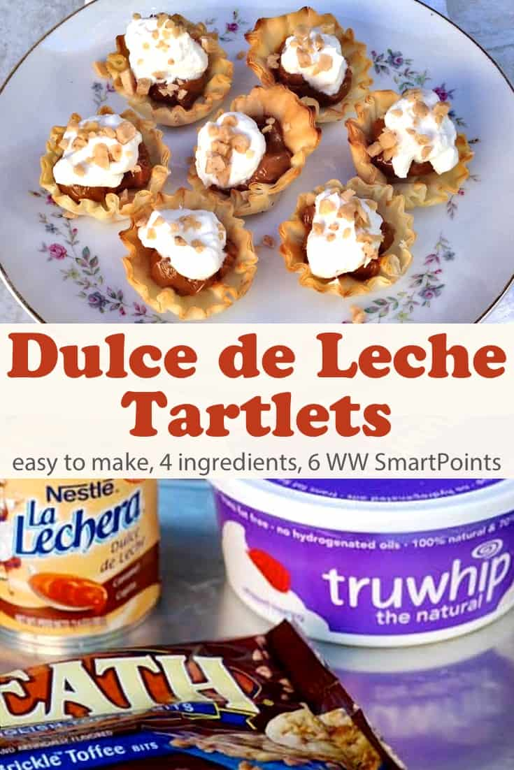 Mini fillo shells filled with sweet and creamy dulce de leche, topped with whipped topping and sprinkled with chopped toffee, these dulce tartlets are as easy as they are delicious - only 6 Weight Watchers Freestyle SmartPoints per 3 tartlets! #simplenourishedliving #weightwatchers #ww #wwfamily #wwsisterhood #smartpoints #wwfreestyle #wwsmartpoints #wwdessert #dessert