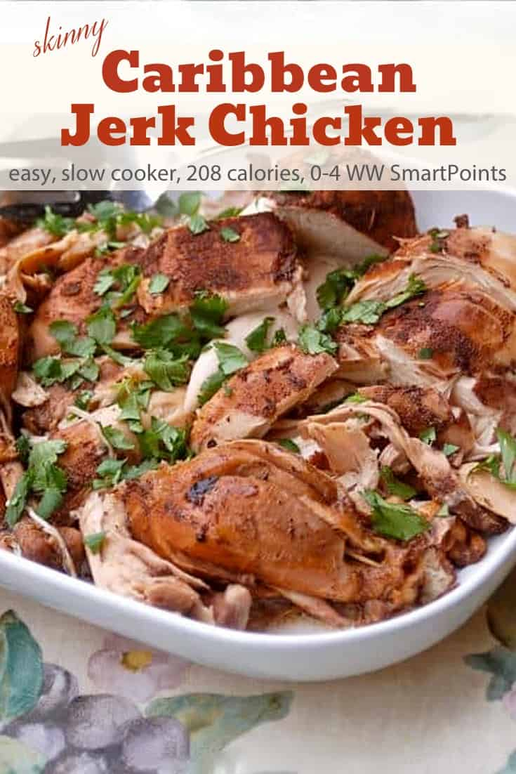 To make this Caribbean Jerk Chicken, simply rub your chicken with a blend of spices and then squeeze on some lime juice and let your slow cooker do the rest. 0-4 Freestyle SmartPoints per serving! #simplenourishedliving #weightwatchers #wwsisterhood #wwfamily #ww #easyhealthyrecipes #slowcooker #smartpoints #wwfreestyle #wwsmartpoints #chicken