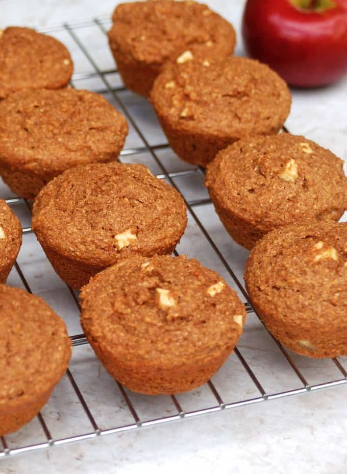 Apple Bran Muffins on a cooling rack