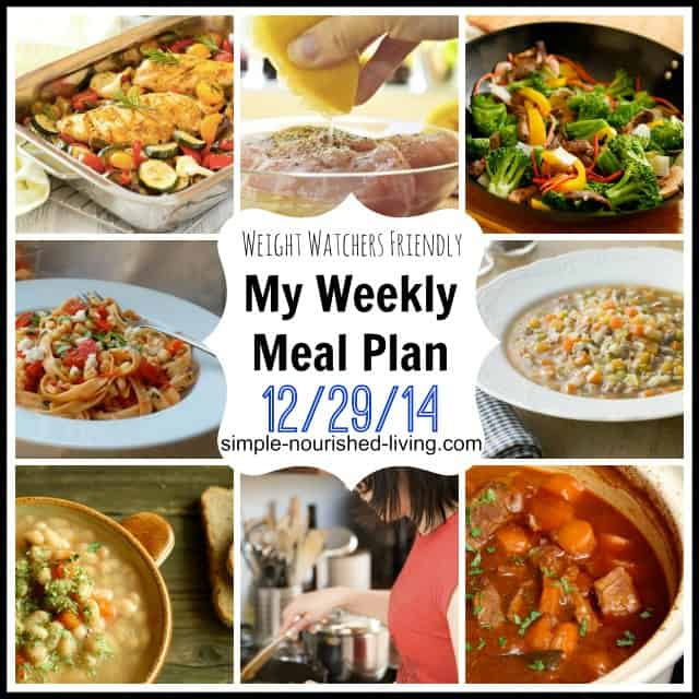 weekly weight watchers meal plan 12 -29-14