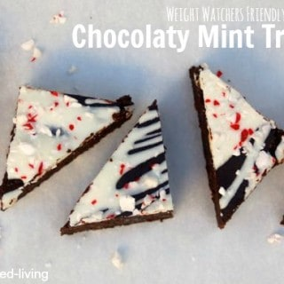 Weight Watchers Chocolate Mint Bars triangle arranged on white board from above