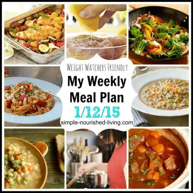 My Weight Watchers Weekly Meal Plan 1/12/15
