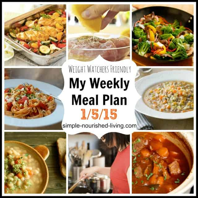 My Weight Watchers Weekly Menu plan 1-5-15