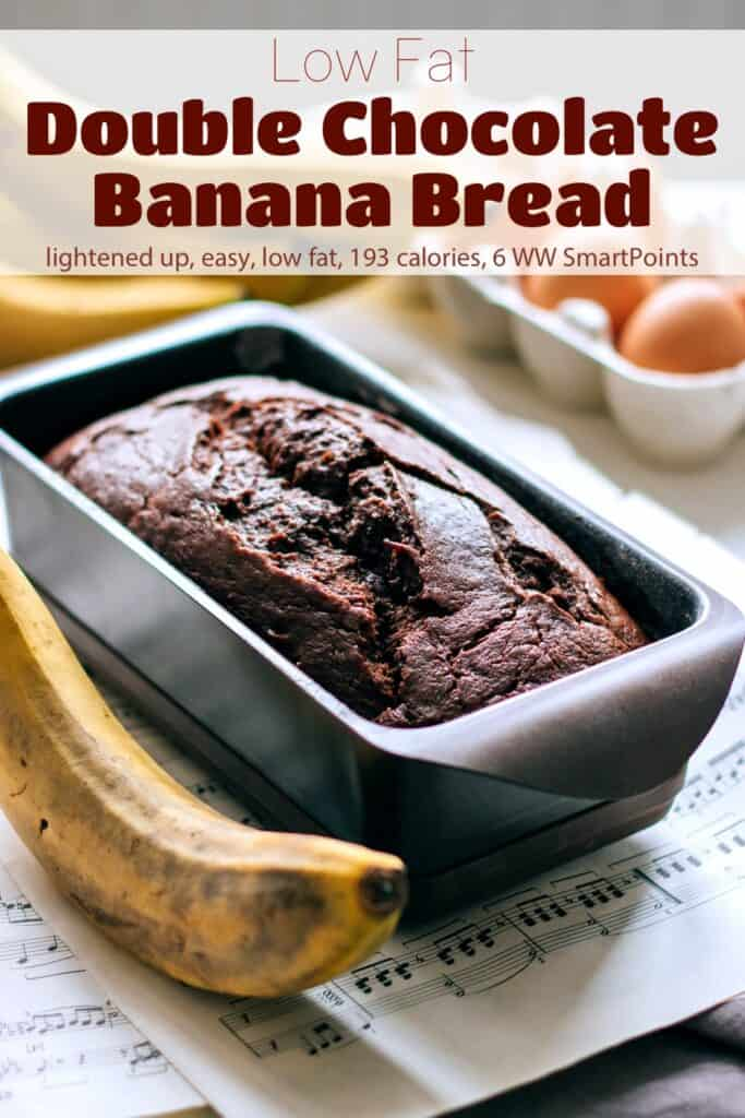 Double Chocolate Banana Bread in loaf pan on table with bananas and eggs in a carton