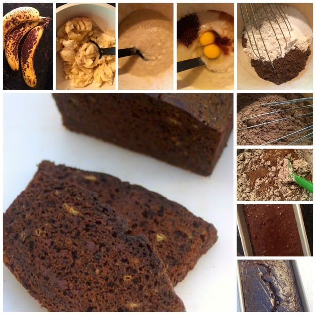 making chocolate banana bread for weight watchers collage