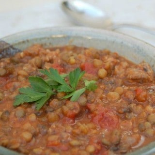 Mom's Simple Hearty Lentil Sausage Stew