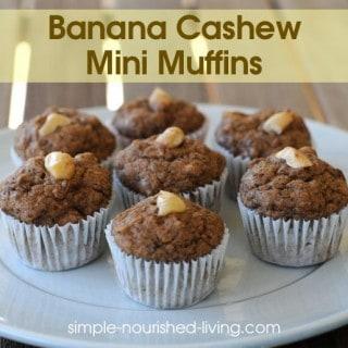 Banana Cashew Mini Muffins