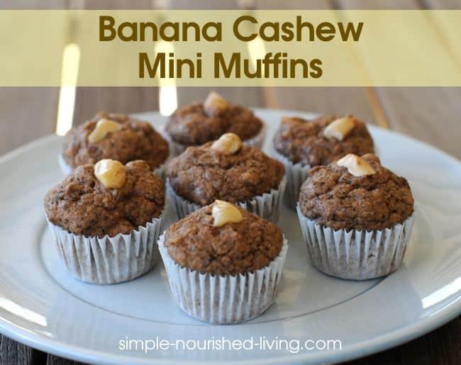 Mini Banana Cashew Muffins