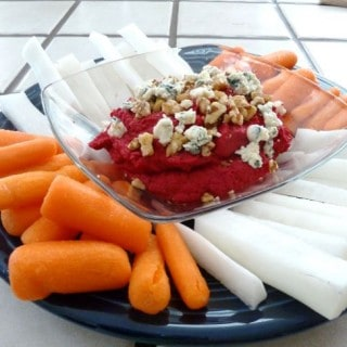 Red Beet Hummus with Carrots and Jicama