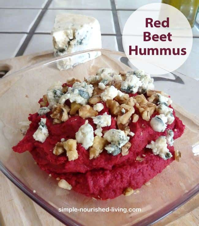 Red Beet Hummus with crumbled blue cheese and walnuts