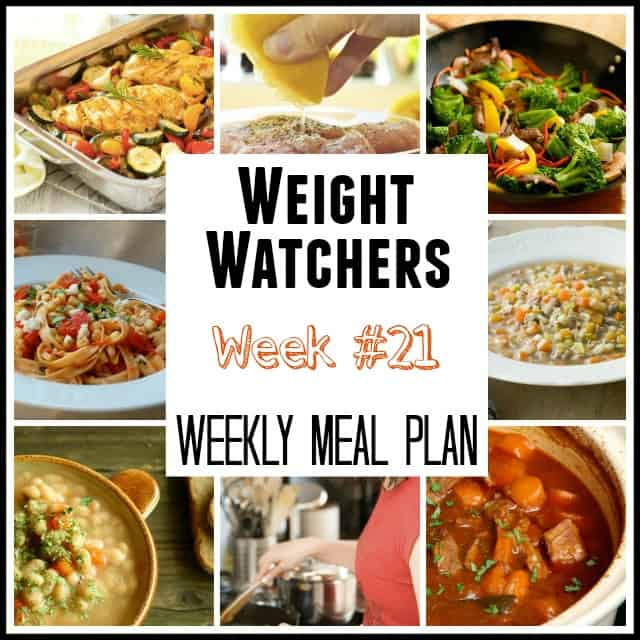Weight Watchers Weekly Meal Plans Week 21