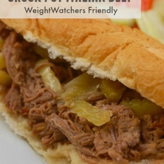 3 Ingredient Weight Watchers Crock Pot Italian Beef Sandwich close up
