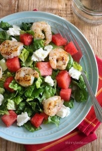 Chopped Salad with Grilled Shrimp and Watermelon