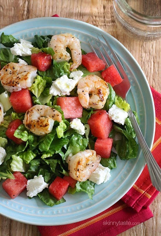 Shrimp Watermelon salad from above green plate