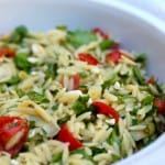 Easy Weight Watchers Orzo Salad with Vegetables close up in a white bowl