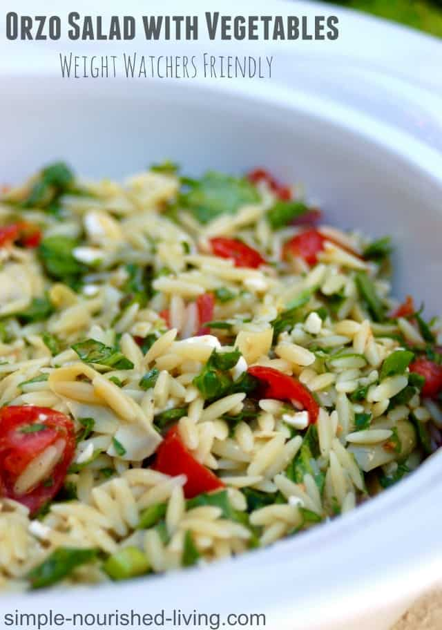 Weight Watchers Orzo Salad with Vegetables | http://homemaderecipes.com/cooking-102/healthy-recipes/orzo-recipes/