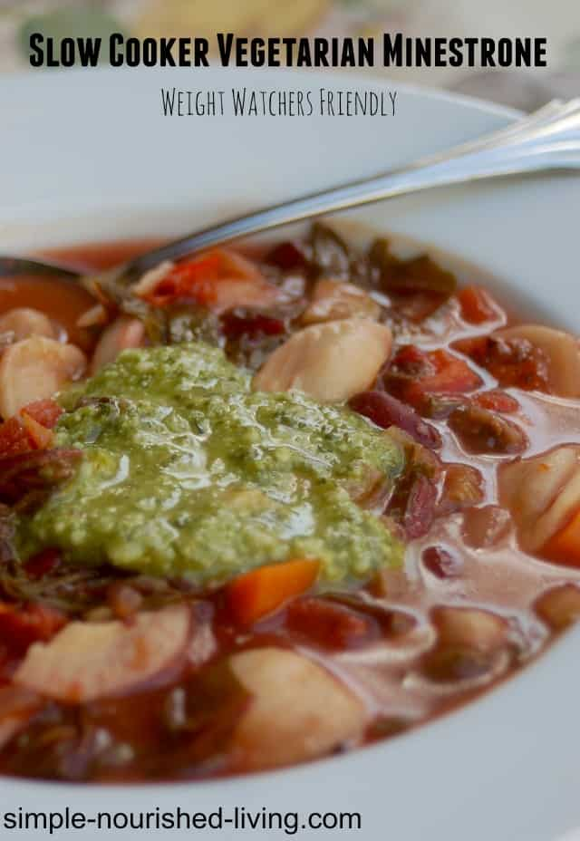 Healthy Slow Cooker Vegetarian Minestrone Weight Watchers SmartPoints 5