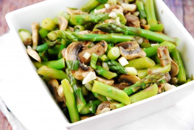 Laloosh's warm asparagus mushroom salad in square bowl from above