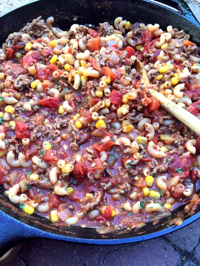 Southwestern Goulash with corn in a skillet