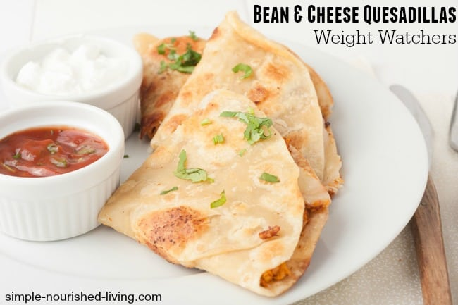 Low Calorie Bean Cheese Quesadillas for Weight Watchers