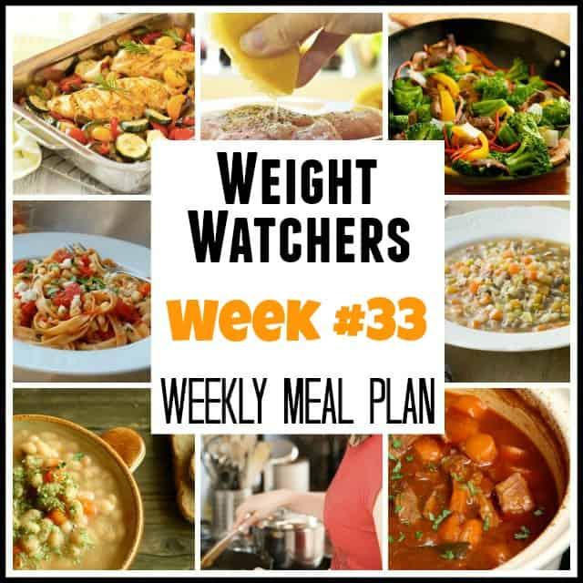 Weight Watchers Weekly Meal Plan Week 33