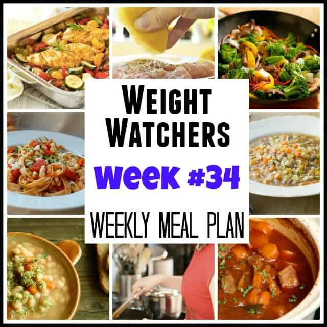 Weight Watchers Weekly Meal Plan Week 34