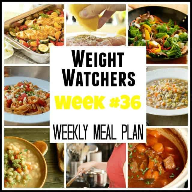Weight Watchers Weekly Meal Plan Week 36