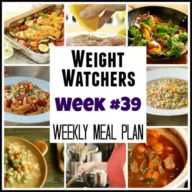 Weight Watchers Weekly Meal Plan Week 39
