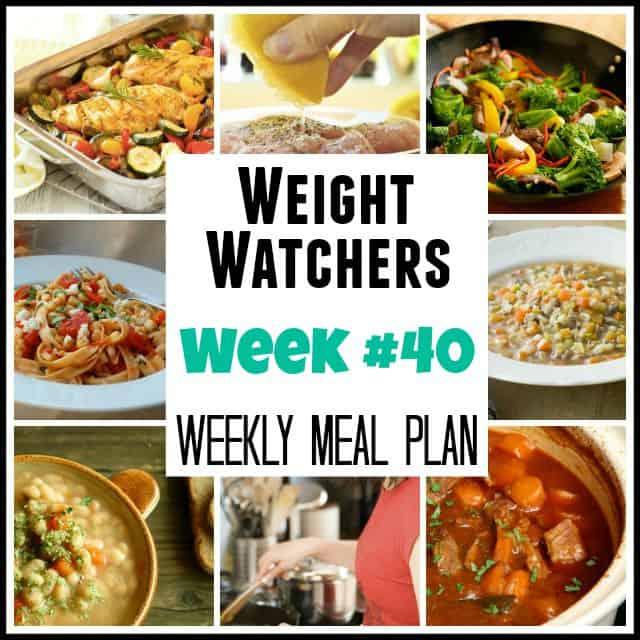 Weight Watchers Weekly Meal Plan Week 40