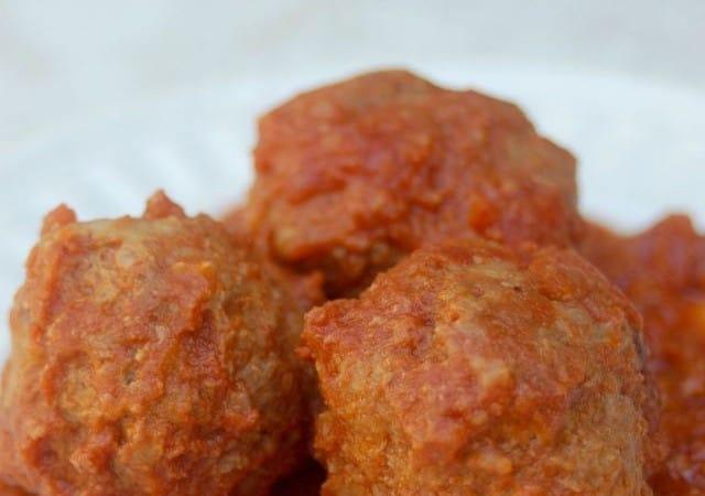 Skinny Slow Cooker Porcupine Meatballs