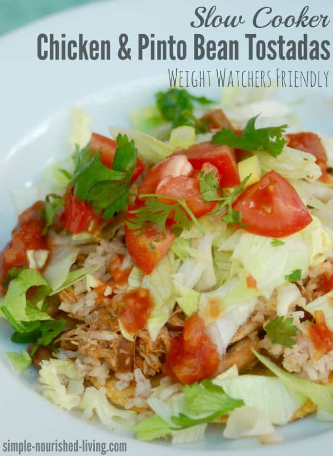 Skinny Slow Cooker Chicken and Pinto Bean Tostadas Weight Watchers
