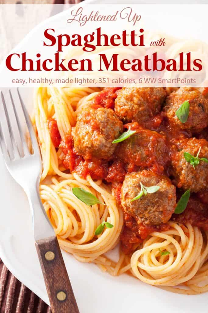 Spaghetti with Chicken Meatballs garnished with basil on white plate with fork.