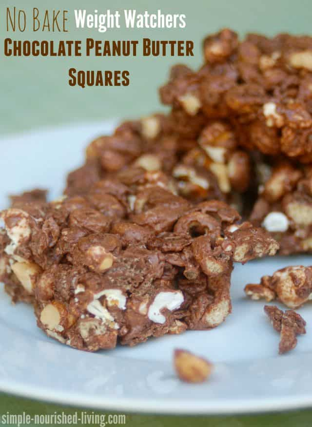 No-bake chocolate peanut butter squares on a white plate
