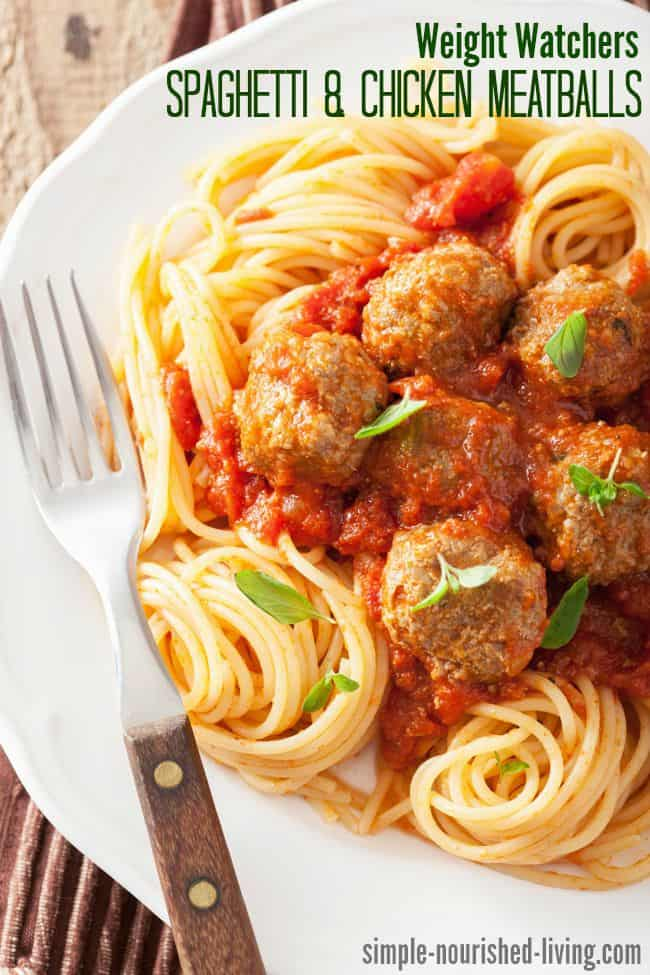 Weight Watchers Spaghetti and Chicken Meatballs