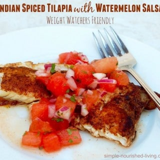Skinny Indian Spiced Tilapia with Watermelon Salsa