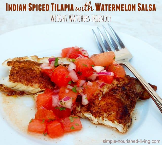 Indian Spiced Tilapia with Watermelon Salsa white plate fork alongside