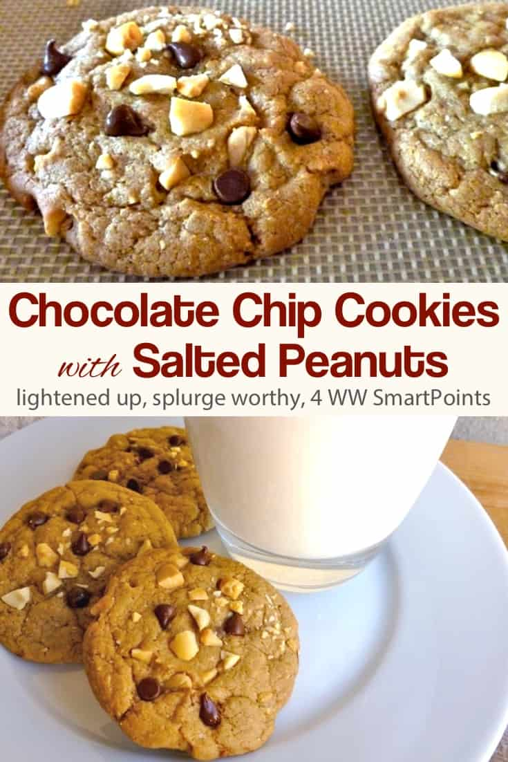 WW Chocolate Chip Cookies with Salted Peanuts - with fewer chocolate chips and less butter than traditional chocolate chip cookies, these Chocolate Chip Cookies are lower in calories and fat, but you'd never guess it! #chocolatechipcookieswithsaltedpeanuts #cookies #chocolatechipcookies