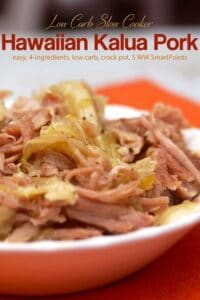 Hawaiian Kalua Pork with Cabbage on a white serving plate up close