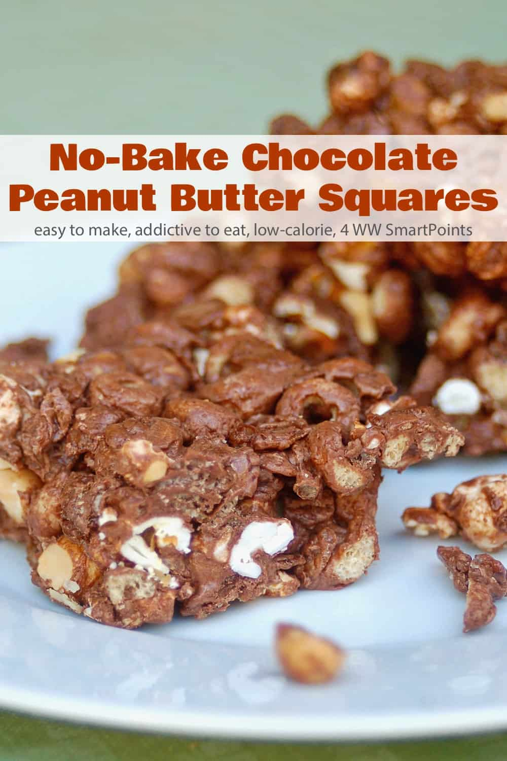 A delicious sweet crunchy, chewy, chocolaty treat the whole family will love, these No Bake Chocolate Peanut Butter Squares are easy to make too! #nobakechocolatepeanutbuttersquares #nobake