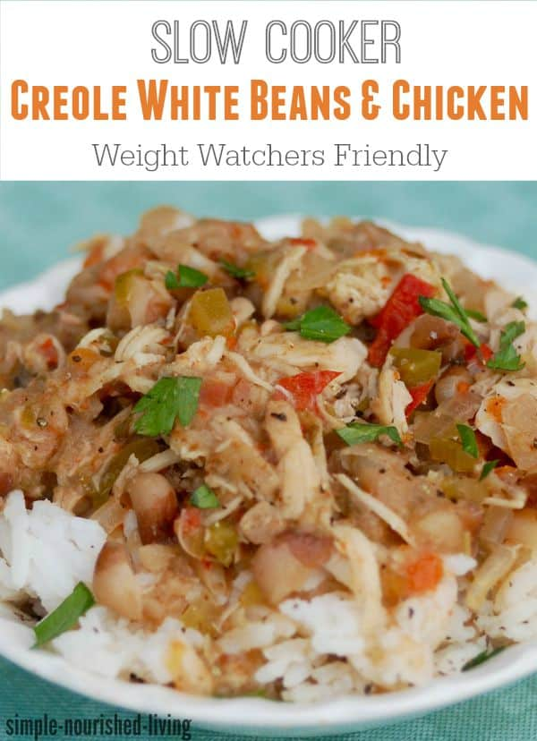 Skinny Healthy Slow Cooker Creole Chicken & White Beans for Weight Watchers - Just 2 Freestyle SmartPoints